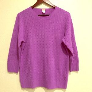 J Crew 100% Cashmere Purple Cable Knit 3/4 Sleeve